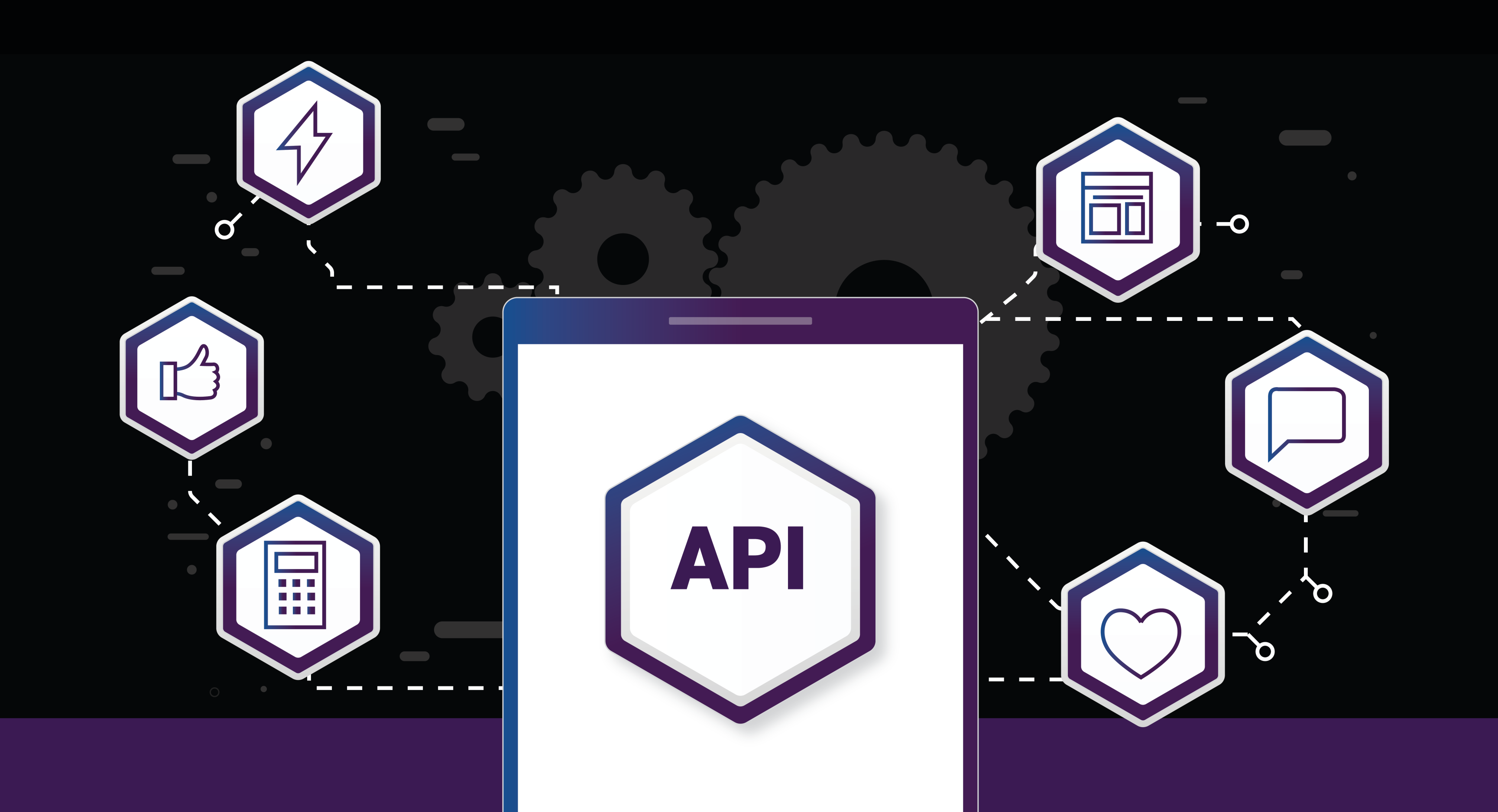 diagram of API surrounded by innovation, technology icons