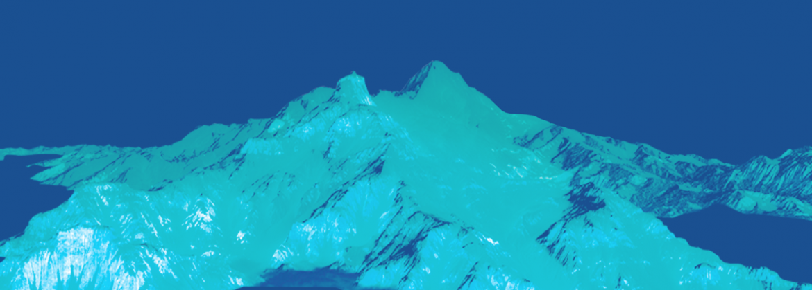 mountains on blue background