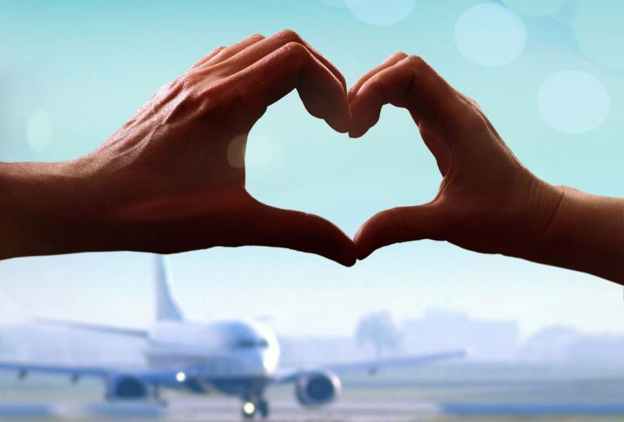 heart formed with hands in front of plane